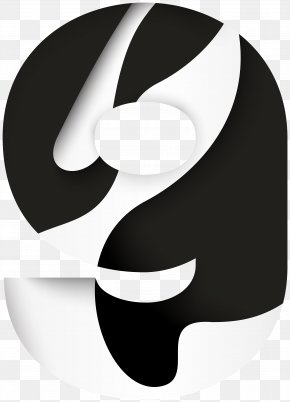 Number Nine Black White Clip Art Image - Black And White Font Design Megaphone PNG