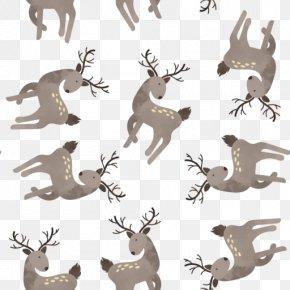 Reindeer Cartoon Tiled Background - Reindeer PNG