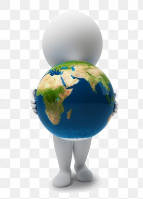 3D White Man Holding Earth - Earth 3D Computer Graphics Stock Illustration Clip Art PNG