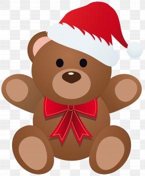 Christmas Teddy Clipart Image - Rudolph Bear Santa Claus Christmas PNG