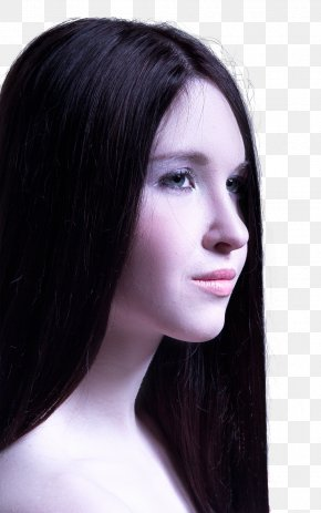 Woman With Long Healthy Straight Hair - Black Hair Indian Gooseberry Oil Human Hair Growth PNG
