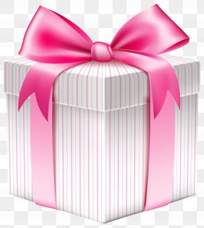 White Striped Gift Box Picture - Christmas Gift Box Clip Art PNG