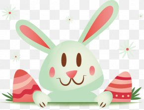Easter Bunny Ears Pink Cartoon Vector Material - Easter Bunny Rabbit Easter Egg PNG