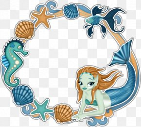 Blue Mermaid Shell Lace Material Free To Pull - Mermaid Clip Art PNG