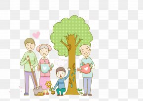 Family Tree Planting - South Korea Qingming Cartoon Illustration PNG