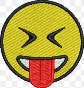 Stick Tongue - Emoji Smiley Embroidered Patch Emblem PNG