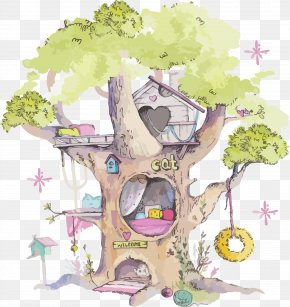 Plant Tree House - Watercolor Floral Background PNG