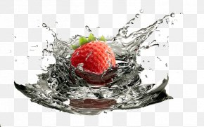 Strawberry In Water - Juice Strawberry Water Drop PNG