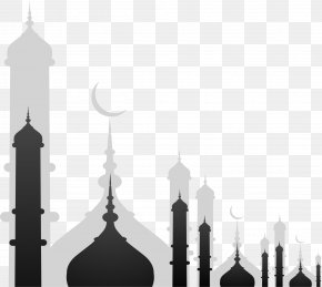Black Building Of Eid Al Fitr - Mosque Stock Illustration Royalty-free Illustration PNG
