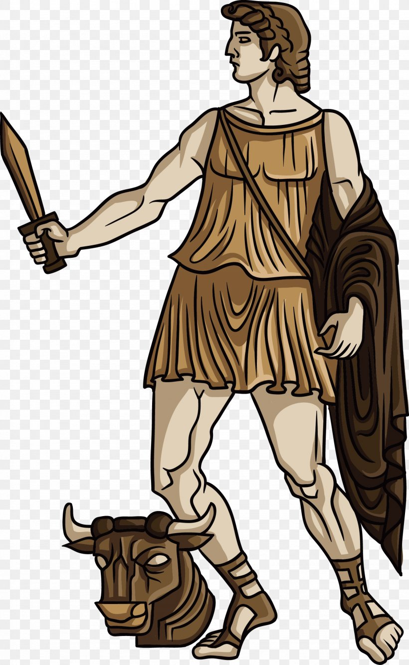 Theseus Ancient Greece Greek Mythology Heracles Illustration