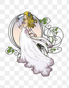 Graceful Bride - Art Nouveau Royalty-free Clip Art PNG