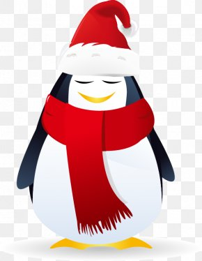 Hand-painted Penguin Red Scarves Hats - Santa Claus Christmas Royalty-free Snowflake PNG