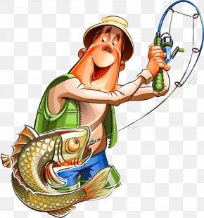 Fishing Pole - Fishing Cartoon Fisherman Clip Art PNG