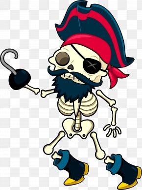 Pirate Skeleton Vector - Cartoon Human Skeleton Illustration PNG