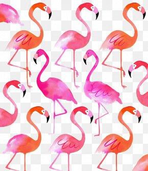 Hand-painted Flamingos - Cushion Throw Pillow Linen Flamingo PNG