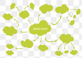 Vector Yellow-green Cloud Shape Divergent Tree View - Mind Map Adobe Illustrator PNG