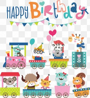 Vector Birthday Card Cartoon Animals - Cartoon Birthday Illustration PNG