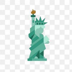 Cartoon Statue Of Liberty - Statue Of Liberty Flat Design Landmark PNG