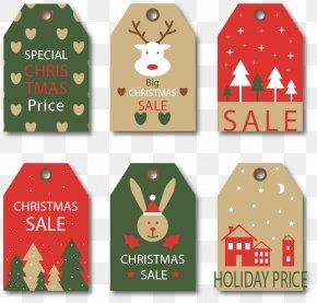 Flat Cute Christmas Tags - Christmas Gift-bringer Christmas Gift-bringer Etiquette Paper PNG