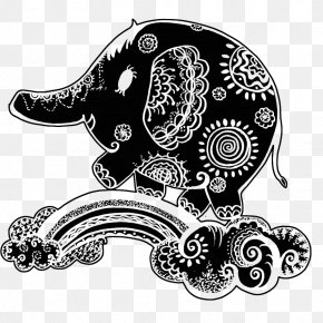 Black And White Painted Elephant Pen - Black And White Visual Arts Graphic Design Elephant Illustration PNG