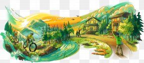Wildlife Painting - Cartoon Nature Background PNG