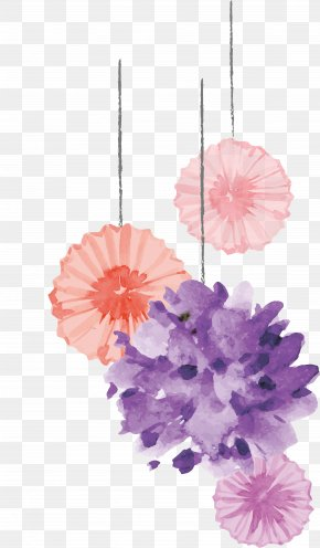 Watercolor Flower Design - Birthday Cake Wedding Invitation Clip Art PNG