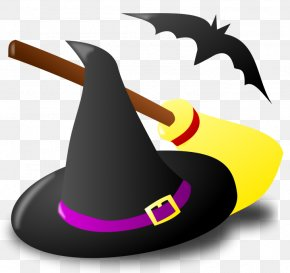 Halloween Witch Hat Broom And Bat Clipart - Witchcraft Clip Art PNG
