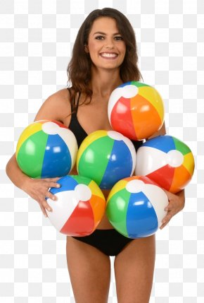 Young Woman Holding Beach Ball - Beach Ball Toy Game PNG