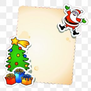 Christmas Cards - Christmas Card Santa Claus Message Christmas Tree PNG