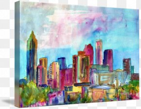 Painting - Skyline Watercolor Painting Modern Art PNG