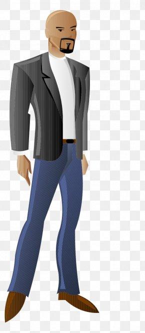 Cartoon Painted Bald Business Man Standing Posture - Cartoon Illustration PNG