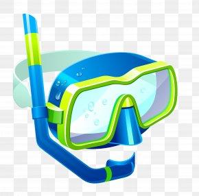 Transparent Blue Snorkel Mask Clipart - Snorkeling Diving Mask Swimfin Clip Art PNG