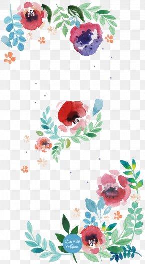 Watercolour Border - Flower Floral Design Watercolor Painting Paper Art PNG