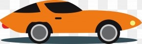 Orange Cartoon Sports Car - Sports Car Vintage Car Automotive Design Muscle Car PNG