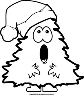 Nativity Black Cliparts - Christmas Tree Santa Claus Black And White Clip Art PNG