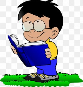 Reading Children - Reading Boy With Book Clip Art PNG