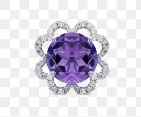 Swarovski Jewelry Flower Pendant - Amethyst Purple Sapphire Ring Body Piercing Jewellery PNG