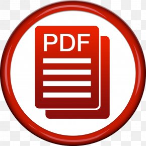 Red Circle With Pdf Icon - Portable Document Format Adobe Acrobat Button PNG