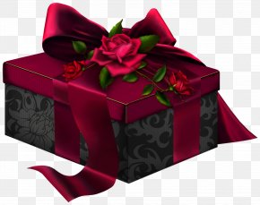 Red And Black 3D Present With Roses Clipart - Box Gift Rosaceae Rectangle PNG
