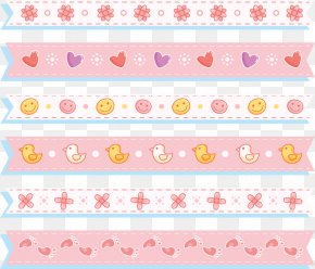 Cute Pink Decorative Ribbon - Paper Pink Pattern PNG