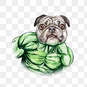 Hand Painted Watercolor Dog Green Giant - Pug Hulk Puppy PNG