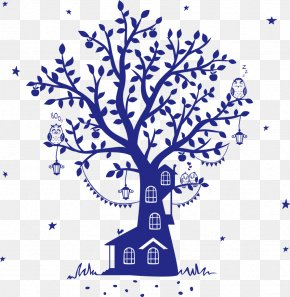 Vector Blue Owl Tree House - Fairy Tale Wall Decal Silhouette Tree House PNG