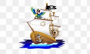 Pirate Ship - Piracy Cartoon Illustration PNG