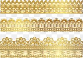 Gold Lace Border - Lace Gold Textile Ribbon PNG