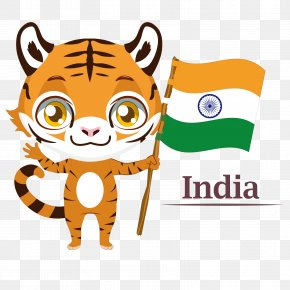 Vector India - Bengal Tiger Flag Of India Illustration PNG
