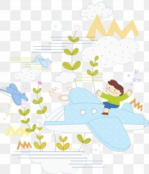 Plane Boy - Airplane Drawing Illustration PNG