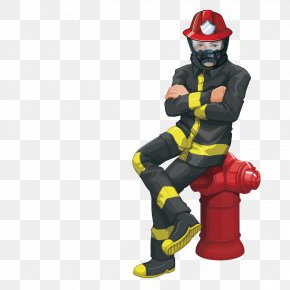 Sitting On A Fire Hydrant Firefighter - Firefighter Royalty-free Stock Photography Illustration PNG