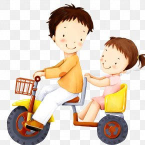 Cartoon Small Children Riding Bicycles Manned Illustration - Brother Birthday Wish Sister Quotation PNG