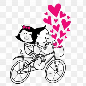 Cycling Couple Vector PNG