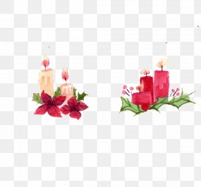 Flower Candle Faucet - Watercolor Painting Christmas PNG